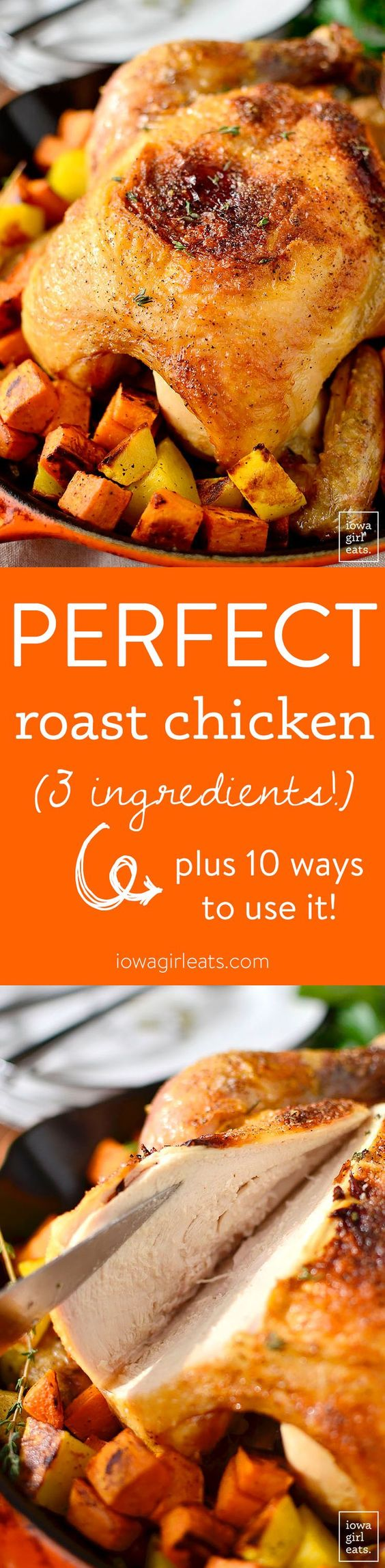 Easy Roast Chicken calls for just 3 ingredients - chicken, salt, and pepper - yet is the most tender and juicy roast chicken you'll ever eat.   iowagirleats.com