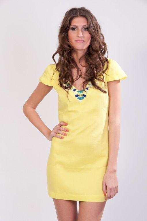 Robe jaune avec perle de Dress me up by Giz : vente en ligne de Robe jaune avec perle robe courte