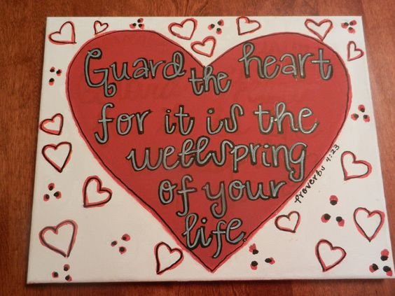 Red, Black, and White Handmade Canvas Painting. Proverbs 4:23. $18.00, via Etsy.
