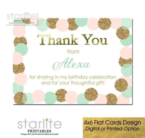 Girls Birthday Thank You Card Blush Pink Mint Gold Glitter flat thank you card in 4x6 size with your very own custom thank you message. Available as printable digital diy or printed cards with blank white envelopes.