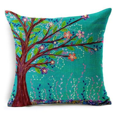 Natural Style Fashion New Cushion Tree Print pillow Bed Sofa Home Decorative Pillow Fundas Para Almofadas Cojines