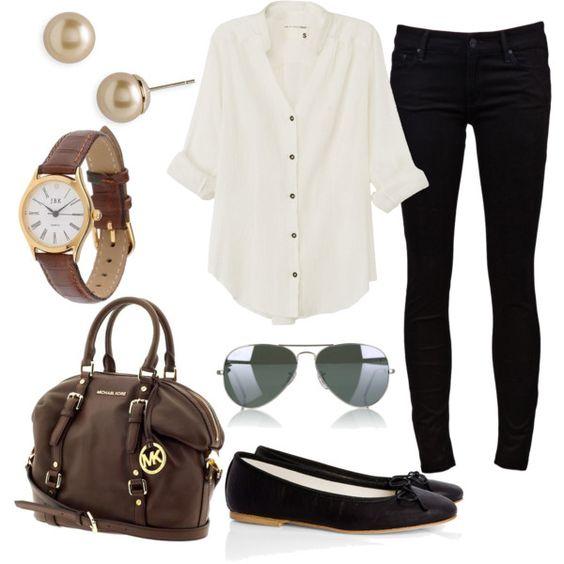 Neutros: calça preta, blusa branca, acessórios marrom