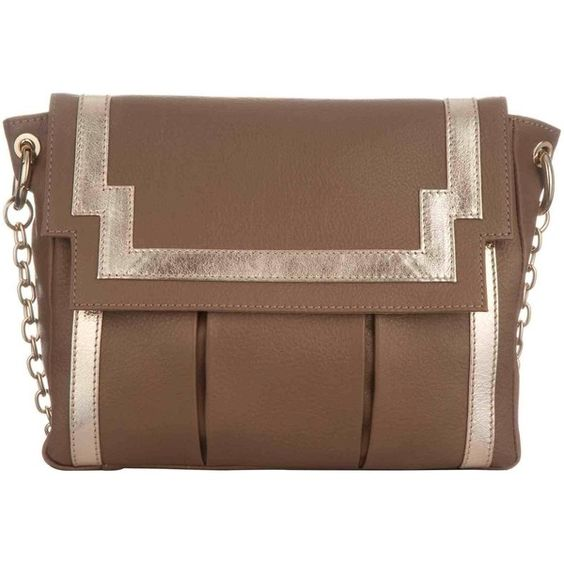 Torula Chinatown in Taupe Leather and Gold ($318) ❤ liked on Polyvore featuring bags, handbags, shoulder bags, gold leather handbag, leather shoulder bag, leather handbags, genuine leather shoulder bag and brown leather shoulder bag