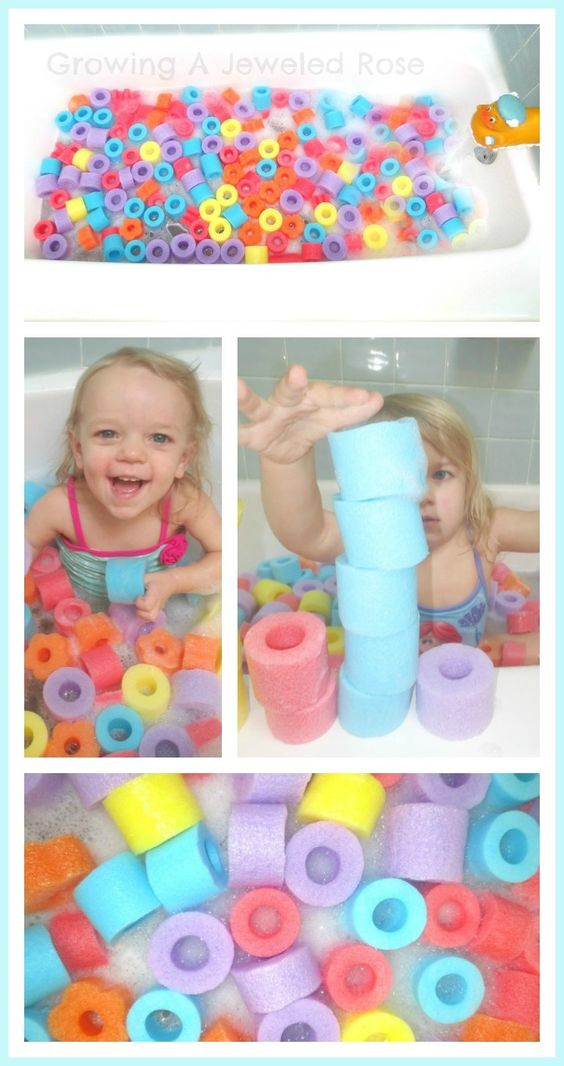Swim in OODLES of noodles with a Pool Noodle Bath Pit. Simple & frugal fun that lends itself to tons of learning activities. Build, sort, stack, order, graph, pattern, play.