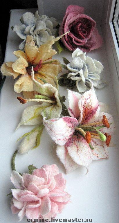 Купить Брошь-цветок - брошь, роза, заколка с лилией, лилия, розы, брошь роза, пион