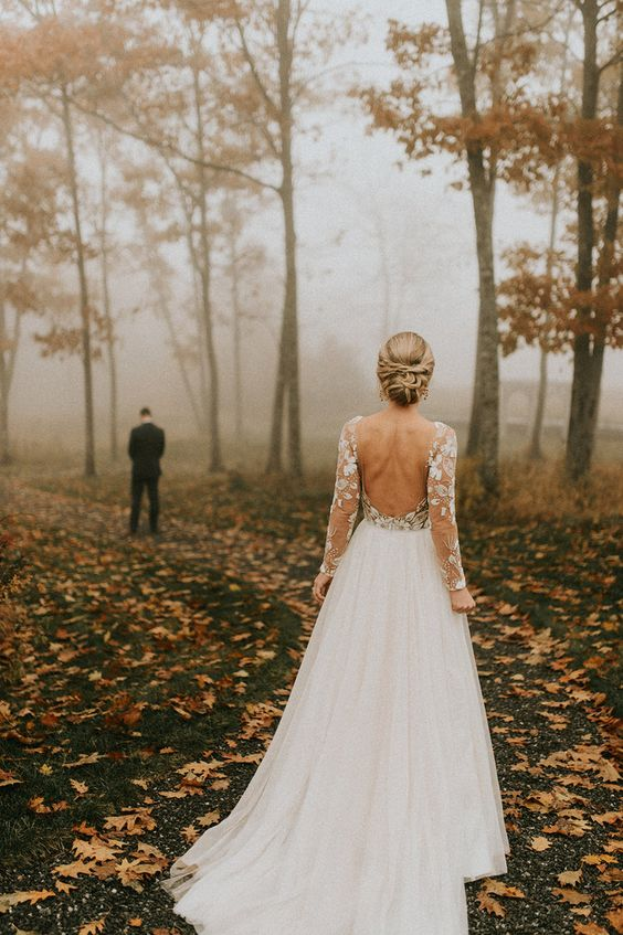 Hadley and Mike's November Wedding at Beech Hill Barn — Pinch Me Planning - Maine and New England Wedding Planner -Wedding Dress - Lace - Long Sleeve - Bride - Groom - First Look - Fall - Foliage - Trees