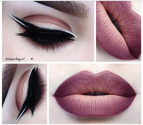 "Kat Von D ""Lolita"" matte lipstick. Mac lip liner in ""Night moth"". NYX ""natural"" lip liner.:"