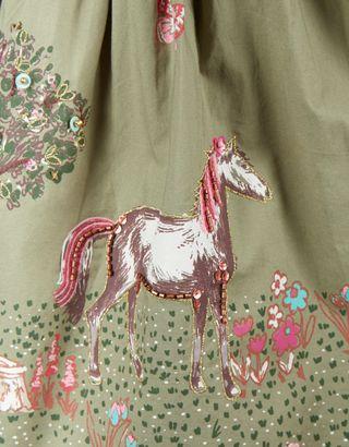 Rosette 2 In 1 Horse Dress | Green | Monsoon