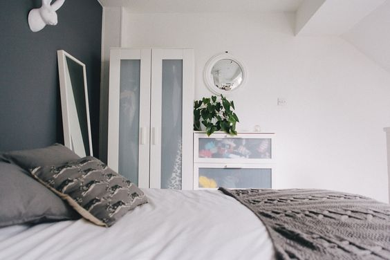 Small space living tour   One-bed home with grey, white and black colour scheme
