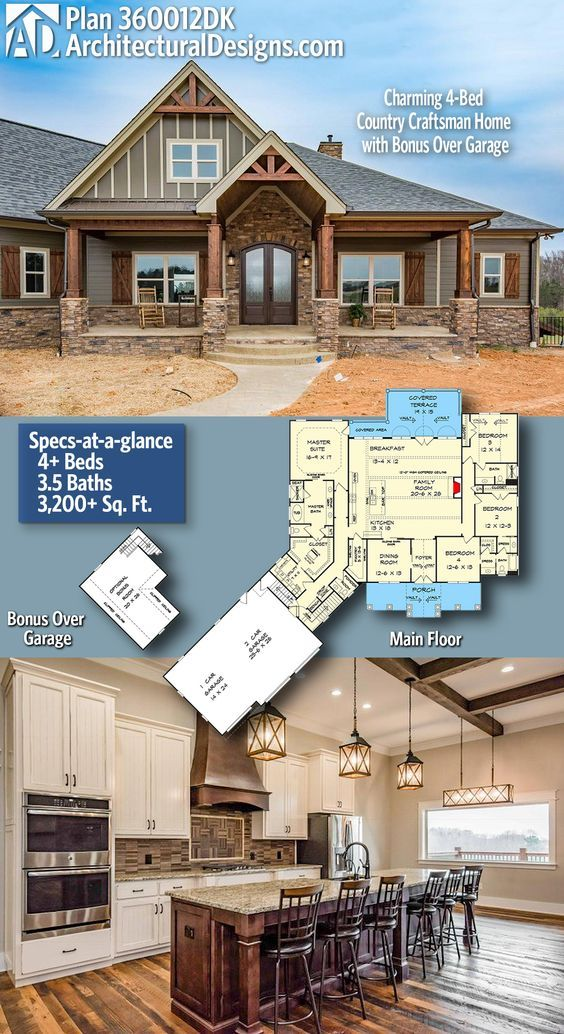 Plan 360012dk Charming 4 Bed Country Craftsman Home With Bonus Over Garage Craftsman House Plans New House Plans Craftsman House Plan