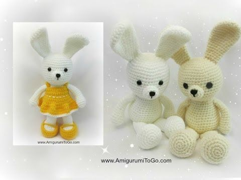 Dress Me Bunny--video tutorial on bunny, dress overalls purse and basket and carrots....