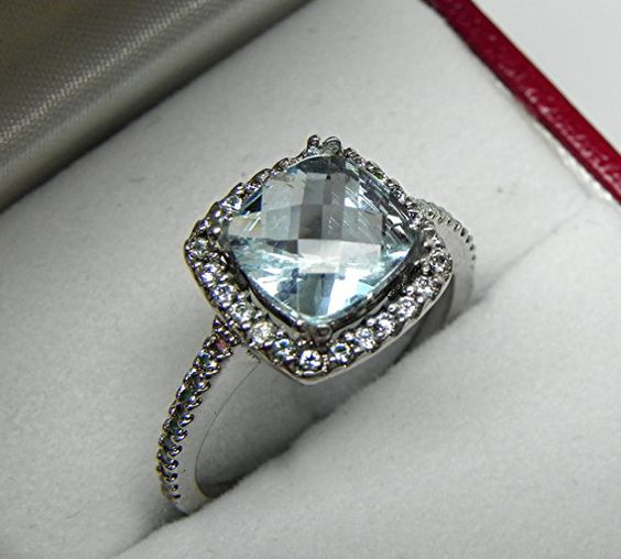 AAA Natural Blue Green Aquamarine Cushion cut  by mastergoldcraft