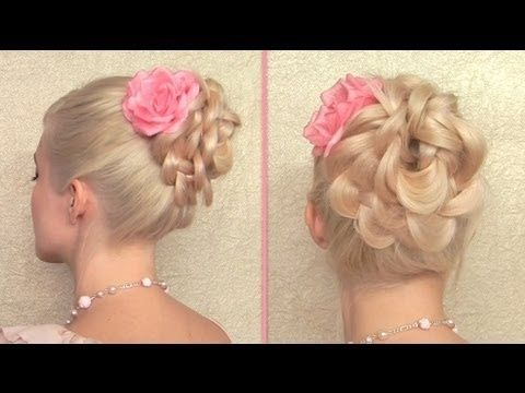 Easy prom updo for long hair Braided flower bun Elegant wedding ...