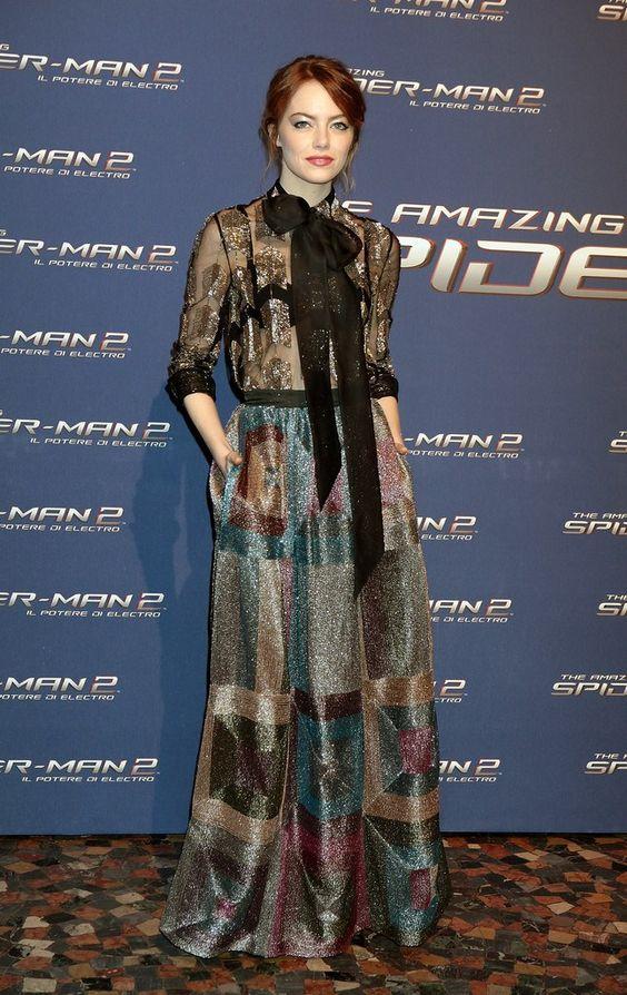 Emma Stone in Valentino Pre-Fall 2014, Worn at The Amazing Spider-Man 2: Rise of Electro Rome Premiere