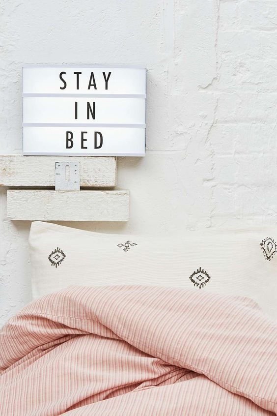 ahaaaa!! These are not just for kids. I love this 'stay in bed' quote. Does it come with a baby sitter?