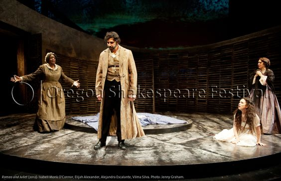 Oregon Shakespeare Festival. ROMEO AND JULIET (2012): Isabell Monk O'Connor, Elijah Alexander, Alejandra Escalante, Vilma Silva. Photo: Jenny Graham.