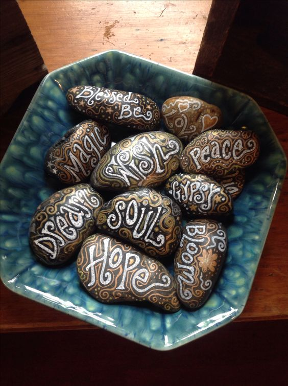 I want to paint rocks and put the name of the veggie/herb in the container (instead of tags) Painted rocks....: