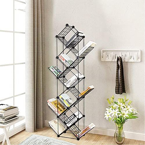 New Cretee 11 Tier Tree Bookshelf Metal Standing Bookcase Small Space Book Shelves Rack Living Room Home Office Compact Storage Organizer Online Melyssani In 2020 Shelves Bookcase Tree Bookshelf
