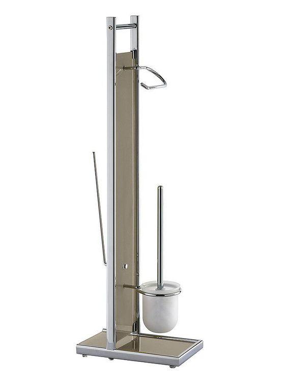 Gestell aus verchromten Metall, Korpus aus Glas. Vorne Rollen und WC-Bürstenhalter, hinten Halter für 2 Ersatzrollen. H/B/T ca. 85/15/28 cm. Selbstmontage....