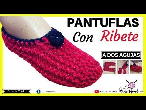 Pantuflas Y Babuchas Con Bordes A Dos Agujas Tejidos A Palillos Youtube Pantuflas Pantuflas De Ganchillo Calcetines De Ganchillo