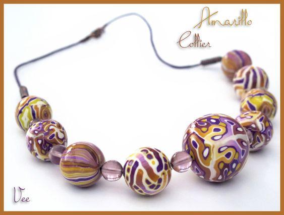 Amarillo necklace by Veesuel, polymer clay.