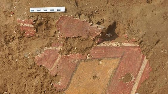 A close-up shows part of one of the murals that may date back 4,600 years—well before the brush-stroke process of painting was known previously in China.