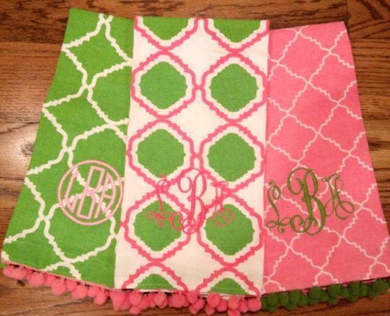 Preppy Monogram Tea Towels with Pom Poms. $15.00, via Etsy