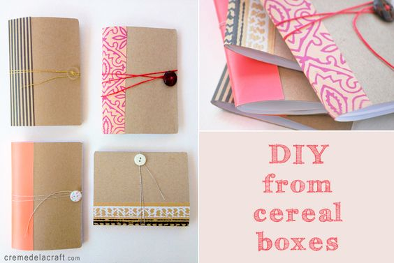 notebook made out of a cereal box