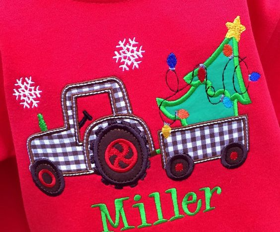 Boys Tractor Pulling Christmas Tree on Long Sleeves by lilshabebe
