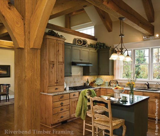 (Style of cabinets, hardware & light stain) Like the green contrast with the light cabinets