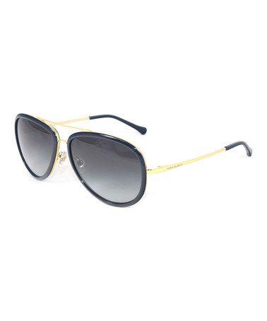 Look at this #zulilyfind! Gold & Navy Aviator Sunglasses by Tory Burch #zulilyfinds