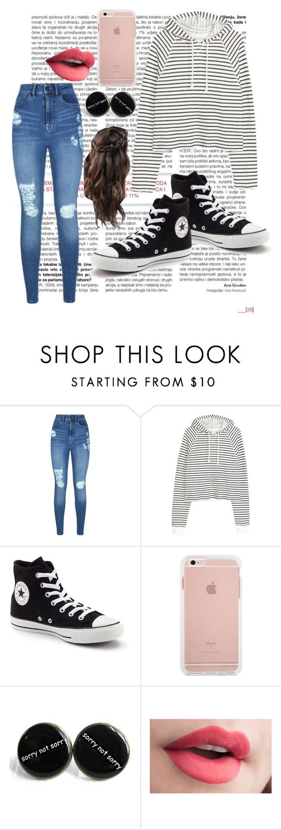 """""""Casual Monday"""" by jessicawednesday ❤ liked on Polyvore featuring Lipsy and Converse"""