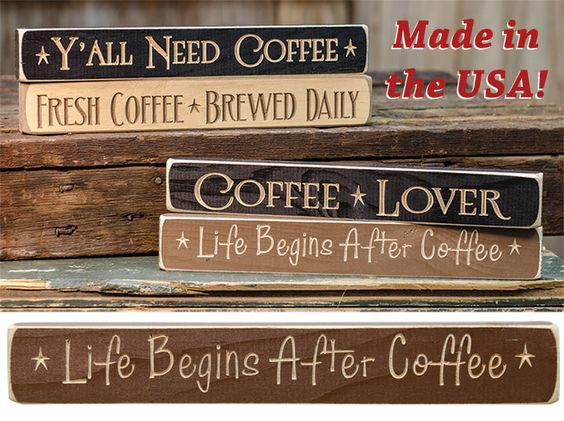 Ahhhh - Life Begins After Coffee Engraved Sign is made in the USA! Just $4.69.