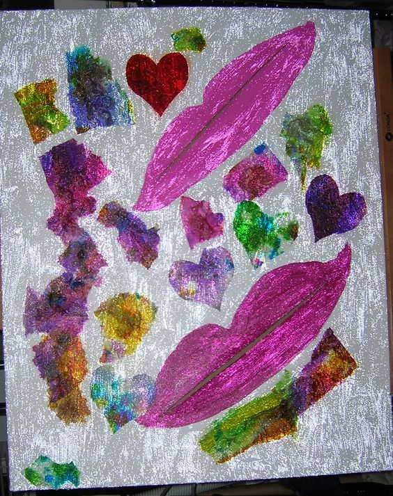 Tulips and Hearts. Acrylic on slashed canvas. By Ann Blackwell,  DragonFibre Studios.