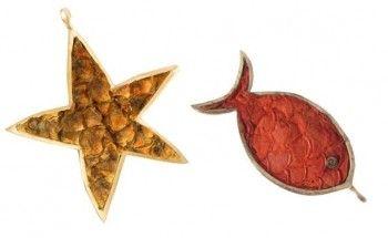 estrela do mar e peixe em couro de tilapia e ouro de junia machado