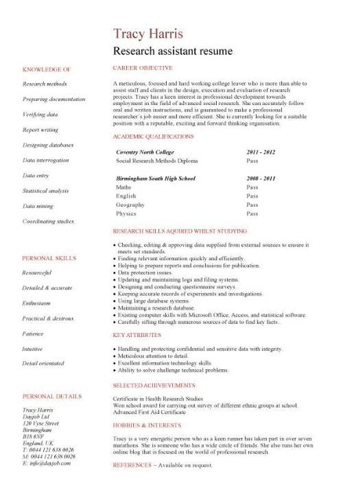 Undergraduate Research Resume No Work Experience Research