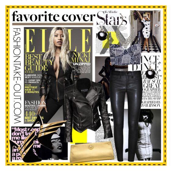 """NICKI MINAJ: April 2013 Magazine Cover"" by fashiontake-out ❤ liked on Polyvore featuring Karl Lagerfeld, Nicki Minaj, J Brand, Balmain, Alejandro Ingelmo, Mara Hoffman, Tory Burch, Lord & Taylor, DANNIJO and leather pants"