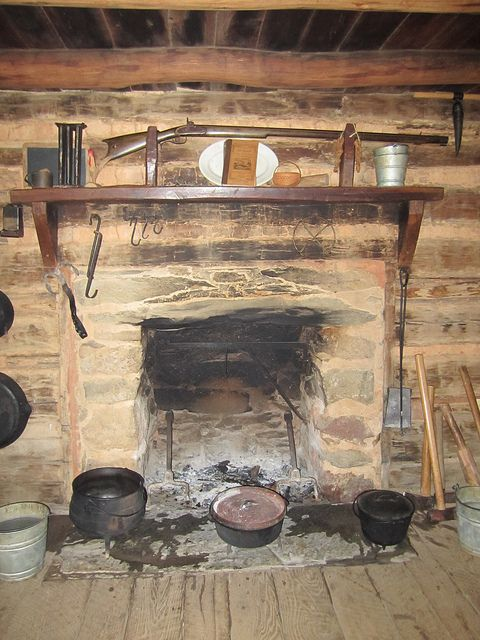 early log cabin fireplace...love the country life, but so glad I did not have to cook like this!