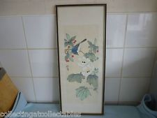 Signed  Framed Vintage Silk Chinese Ink Painting Bird in Flowers