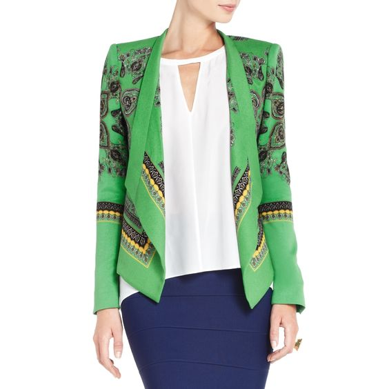 BCBGMAXAZRIA - SHOP BY CATEGORY: JACKETS: ABREE RELAXED SCARF-PRINT JACKET