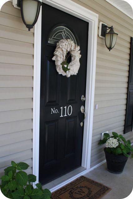 "Gloss Doors Black Front Door By Snazzylittlethings Com: Valspar Exterier Semi-gloss Paint. Color Is ""Dark Kettle"
