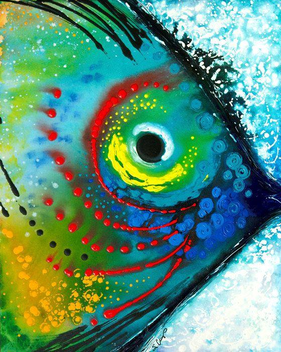 Poissons tropicaux Art impression de peinture colorée plage maison océan mer toile prête à accrocher des gros oeuvre Fishy Fun bleu Aqua vert rouge jaune
