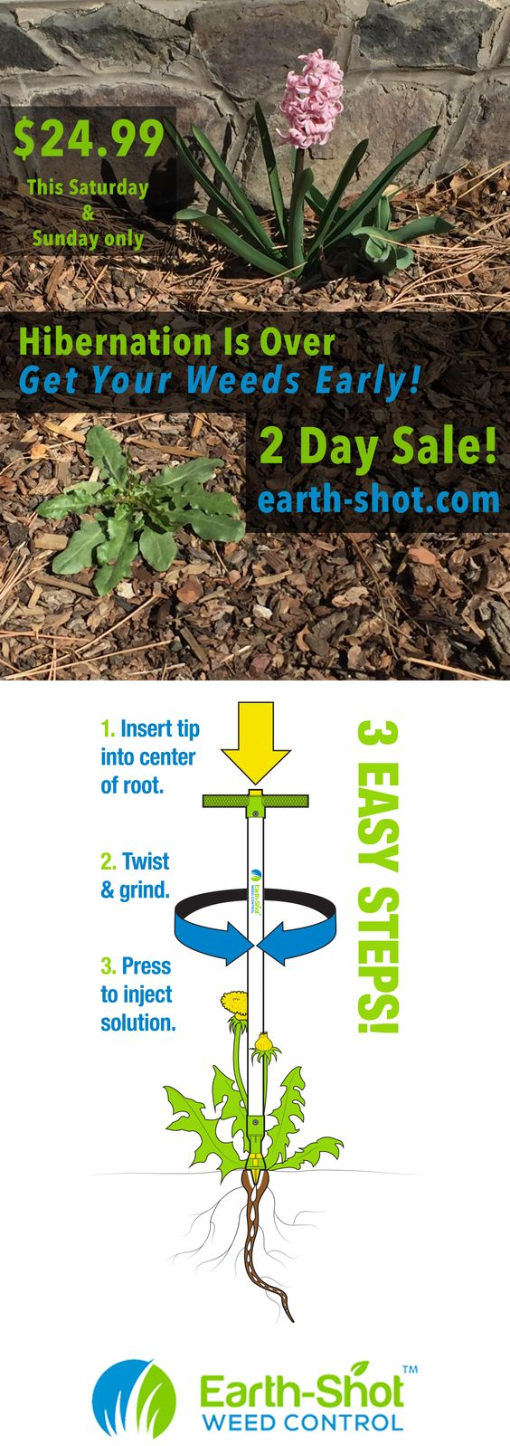 Hibernation Is Over! Get To Your Weeds Early. For this weekend only the Earth-Shot is $24.99.  The natural, organic, pet safe, effective and easy to use weed removal tool