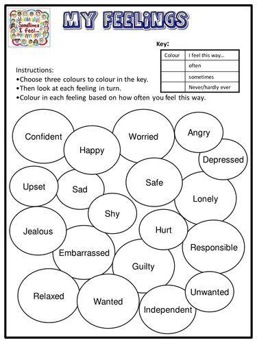 My Feelings Worksheet Emotional Literacy Teaching Resources Therapy Worksheets Feelings Worksheet Social Emotional Learning Free printable feelings worksheets