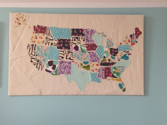 Fabric scrap map of the United States: