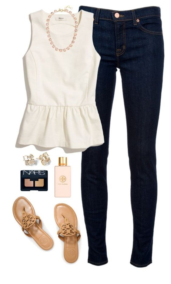 """peplum"" by classically-preppy ❤ liked on Polyvore featuring J Brand, Madewell, Tory Burch, J.Crew, Kate Spade and NARS Cosmetics:"