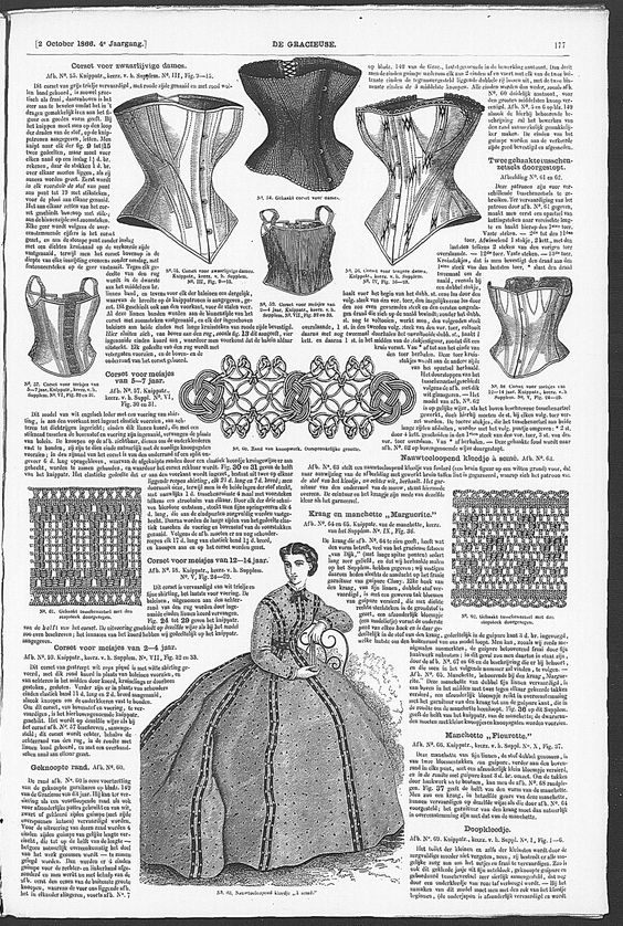Gracieuse. Geïllustreerde Aglaja, 1866, aflevering 20, pagina 177 - Corsets. The sewing patterns were included
