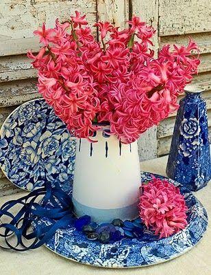 Blue & White China with Dark Pink flowers