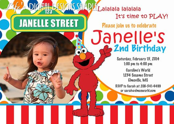 Elmo Birthday Invitation Photo Multi Colored Dots Red White Stripe – Customized Elmo Birthday Invitations