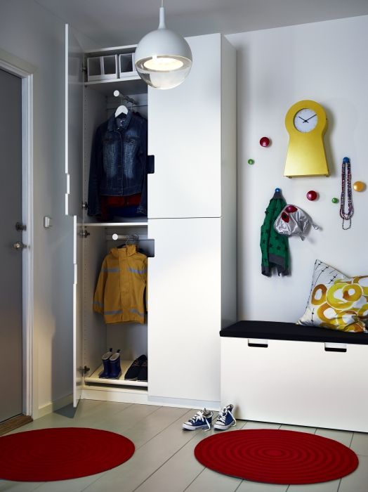 STUVA from floor to ceiling can be designed around the height of the little ones and accommodate the seasonal items you might need storing away for a few months.: